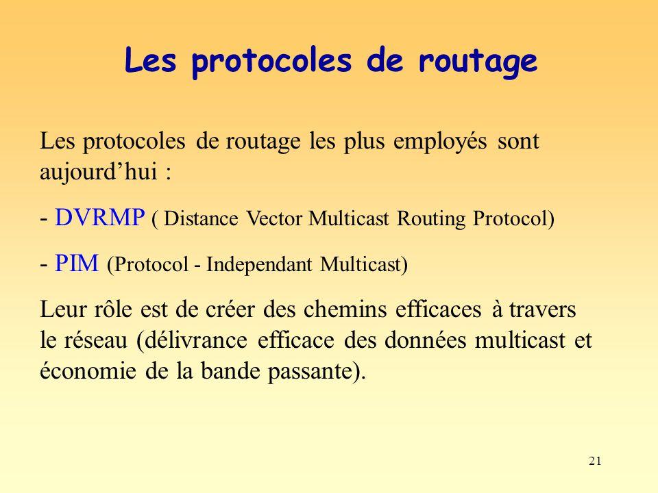 21 Les protocoles de routage les plus employés sont aujourdhui : - DVRMP ( Distance Vector Multicast Routing Protocol) - PIM (Protocol - Independant M