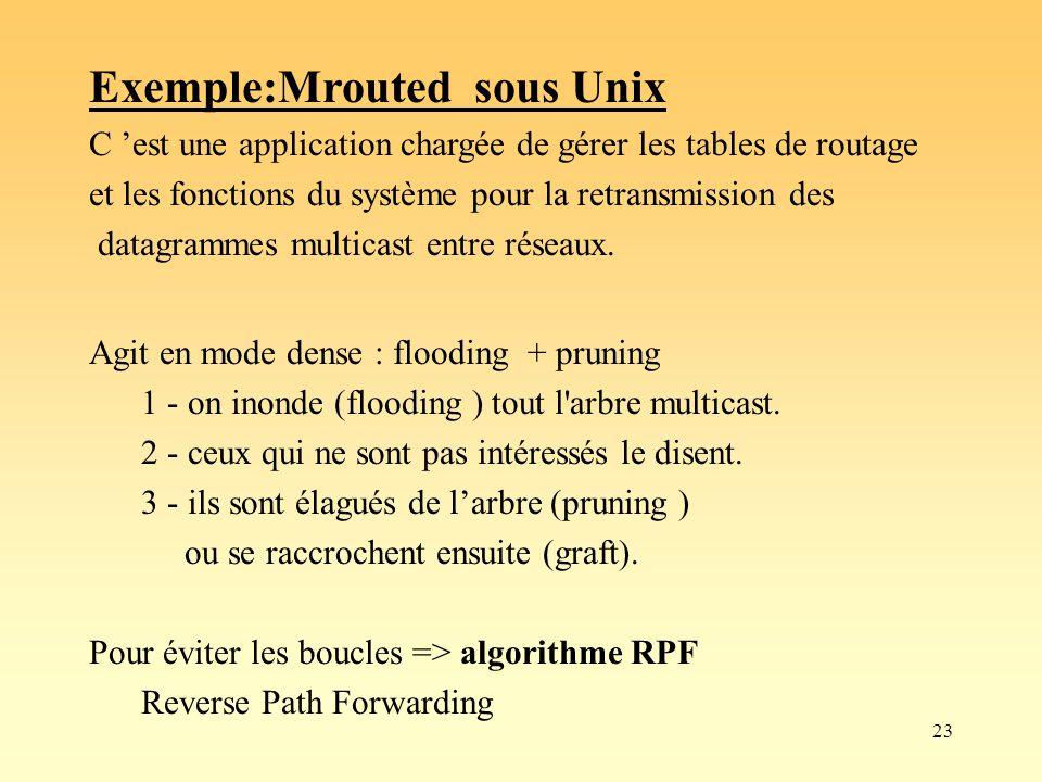 23 Exemple:Mrouted sous Unix C est une application chargée de gérer les tables de routage et les fonctions du système pour la retransmission des datag