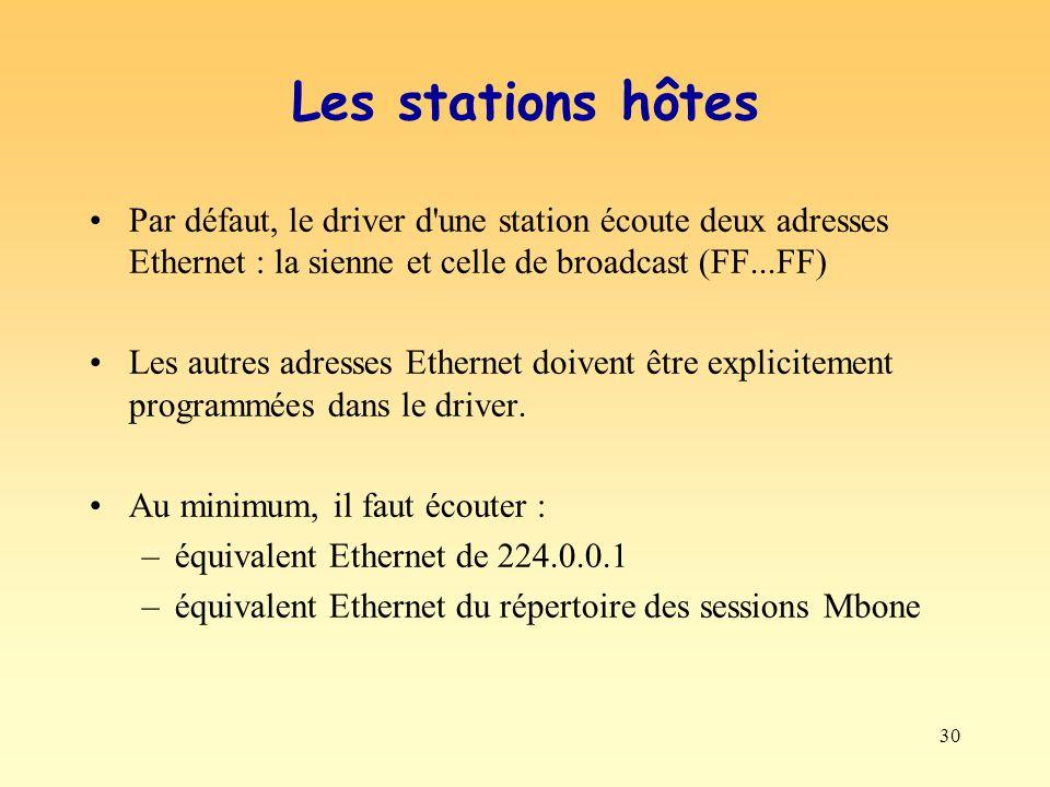 30 Les stations hôtes Par défaut, le driver d'une station écoute deux adresses Ethernet : la sienne et celle de broadcast (FF...FF) Les autres adresse