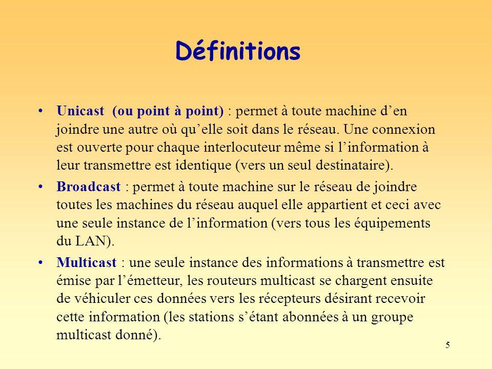 5 Définitions Unicast (ou point à point) : permet à toute machine den joindre une autre où quelle soit dans le réseau. Une connexion est ouverte pour
