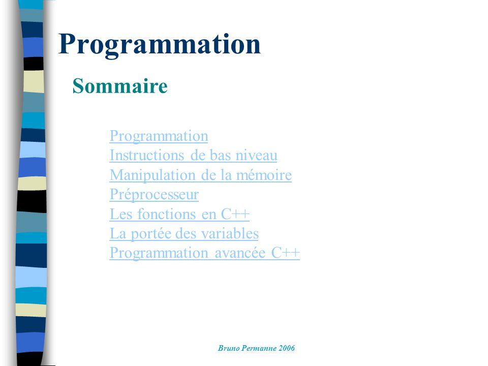 Programmation Sommaire Bruno Permanne 2006 Programmation Instructions de bas niveau Manipulation de la mémoire Préprocesseur Les fonctions en C++ La portée des variables Programmation avancée C++