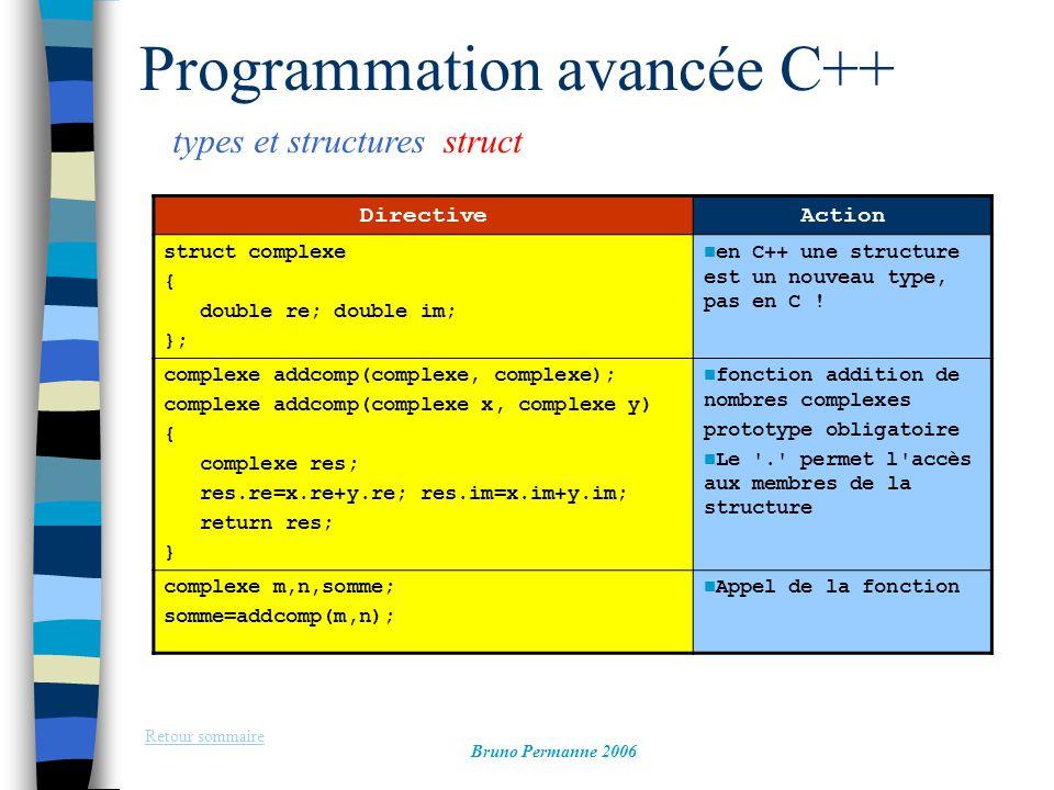 types et structures struct Retour sommaire Bruno Permanne 2006 Programmation avancée C++ DirectiveAction struct complexe { double re; double im; }; en C++ une structure est un nouveau type, pas en C .