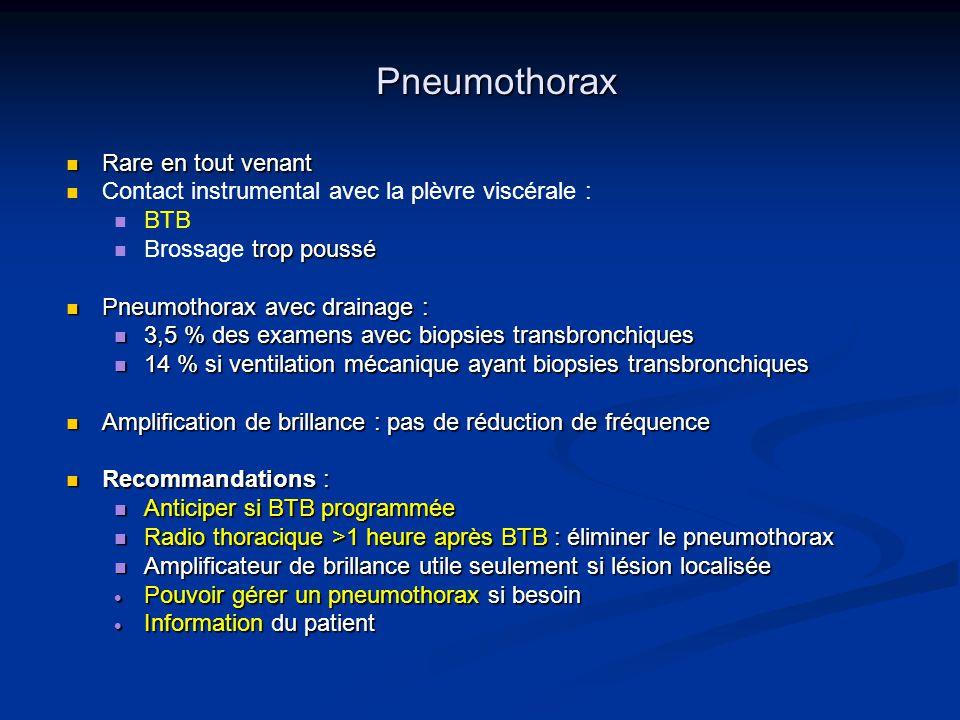Pneumothorax Rare en tout venant Rare en tout venant Contact instrumental avec la plèvre viscérale : BTB trop poussé Brossage trop poussé Pneumothorax