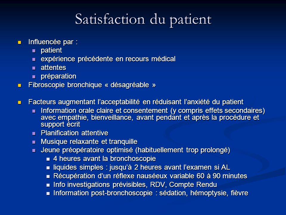 Satisfaction du patient Influencée par : Influencée par : patient patient expérience précédente en recours médical expérience précédente en recours mé
