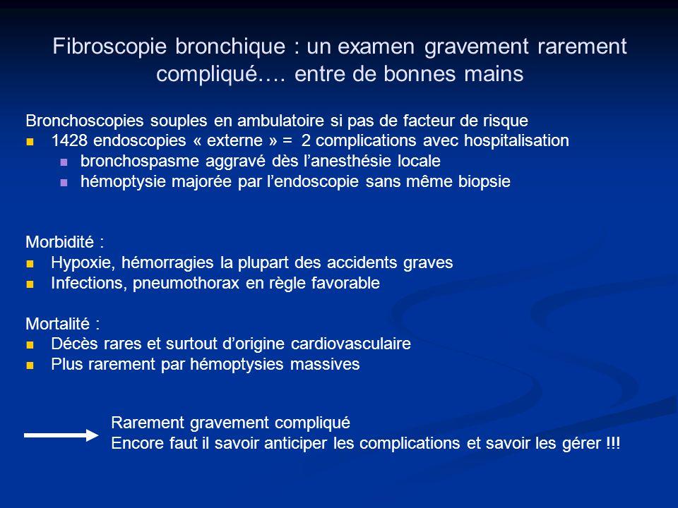 Fibroscopie bronchique : un examen gravement rarement compliqué…. entre de bonnes mains Bronchoscopies souples en ambulatoire si pas de facteur de ris