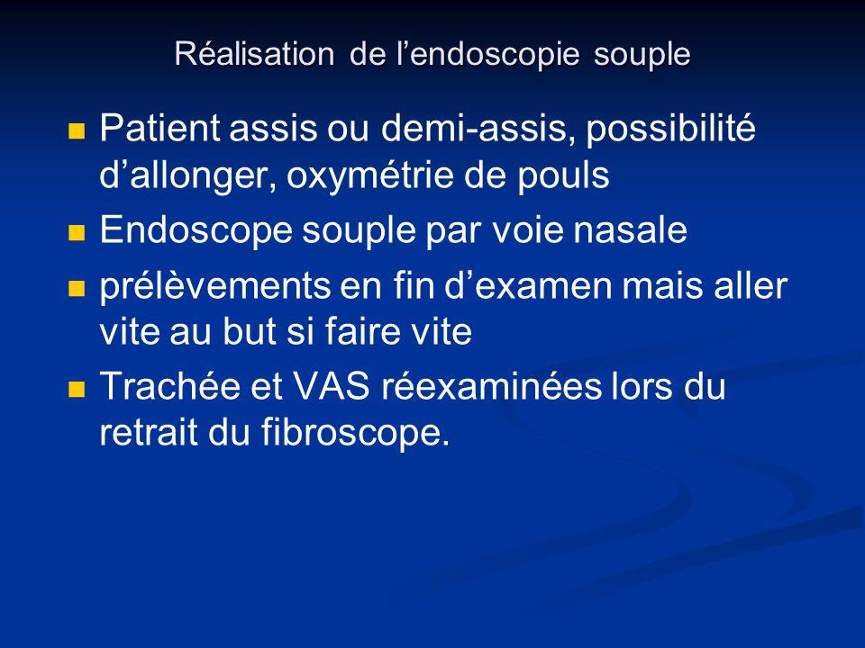 Réalisation de lendoscopie souple Patient assis ou demi-assis, possibilité dallonger, oxymétrie de pouls Endoscope souple par voie nasale prélèvements