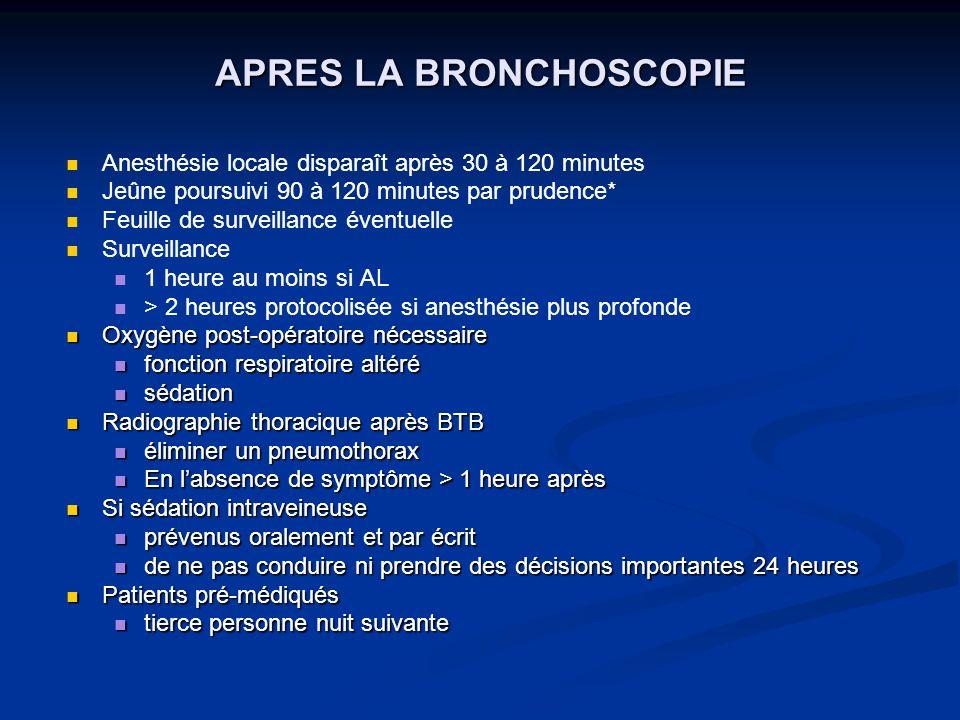 APRES LA BRONCHOSCOPIE Anesthésie locale disparaît après 30 à 120 minutes Jeûne poursuivi 90 à 120 minutes par prudence* Feuille de surveillance évent