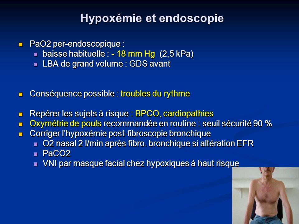 Hypoxémie et endoscopie PaO2 per-endoscopique : PaO2 per-endoscopique : baisse habituelle : - 18 mm Hg (2,5 kPa) baisse habituelle : - 18 mm Hg (2,5 k