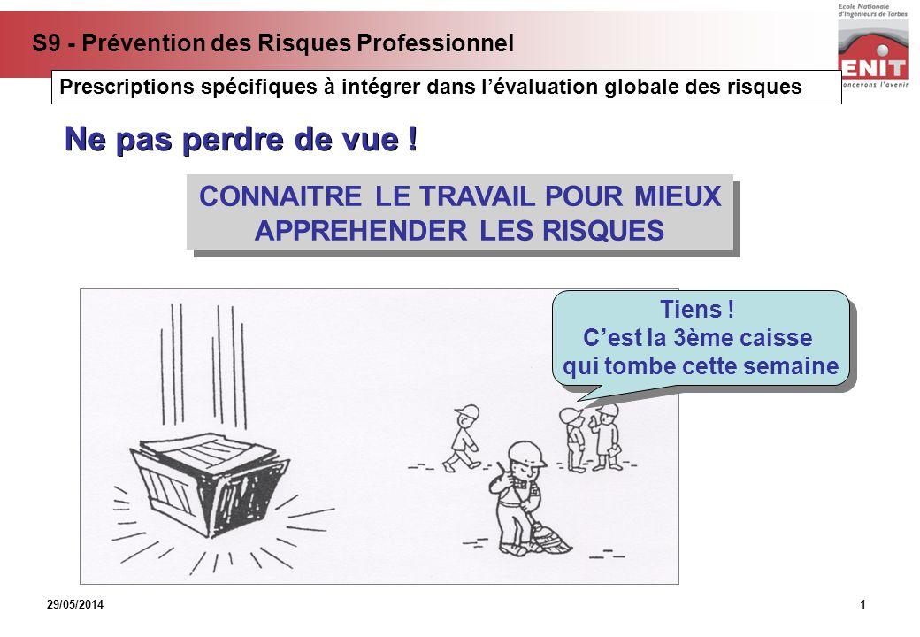 29/05/2014 S9 - Prévention des Risques Professionnel 1 CONNAITRE LE TRAVAIL POUR MIEUX APPREHENDER LES RISQUES CONNAITRE LE TRAVAIL POUR MIEUX APPREHE