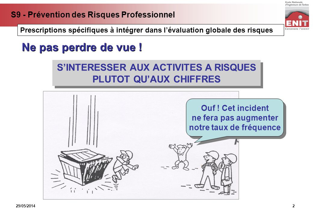 29/05/2014 S9 - Prévention des Risques Professionnel 2 SINTERESSER AUX ACTIVITES A RISQUES PLUTOT QUAUX CHIFFRES SINTERESSER AUX ACTIVITES A RISQUES P