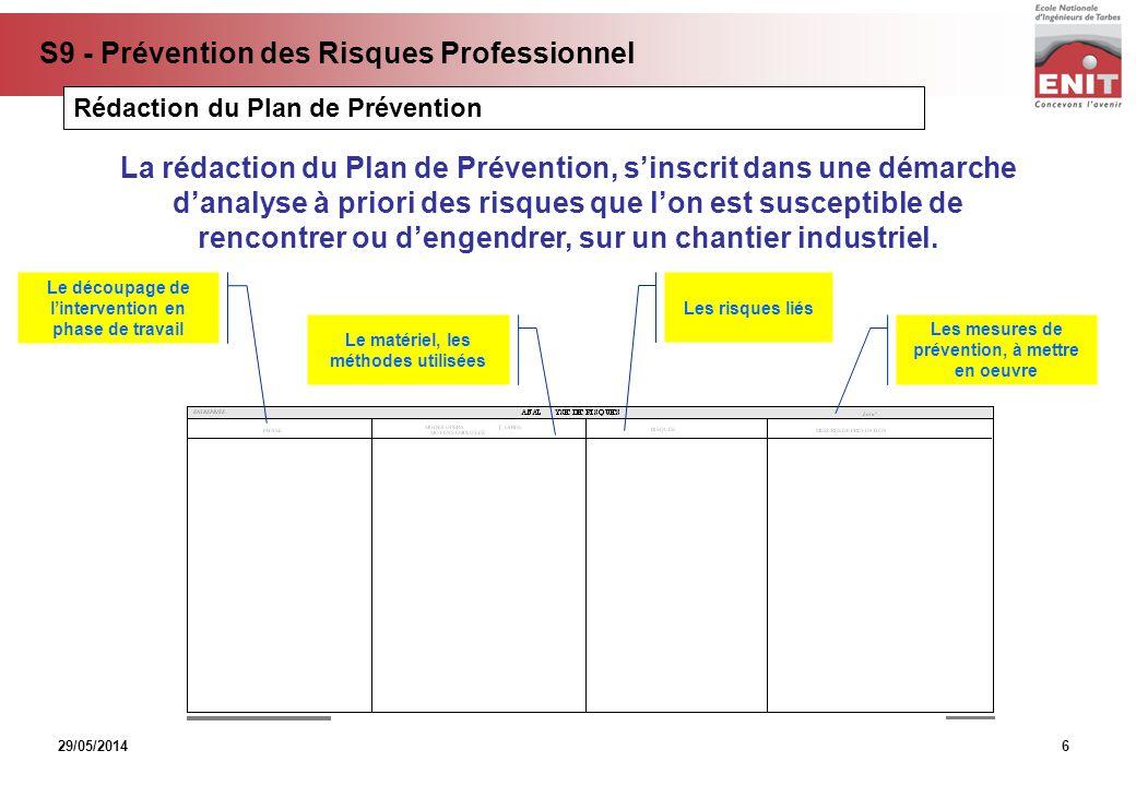 29/05/2014 S9 - Prévention des Risques Professionnel 6 La rédaction du Plan de Prévention, sinscrit dans une démarche danalyse à priori des risques qu