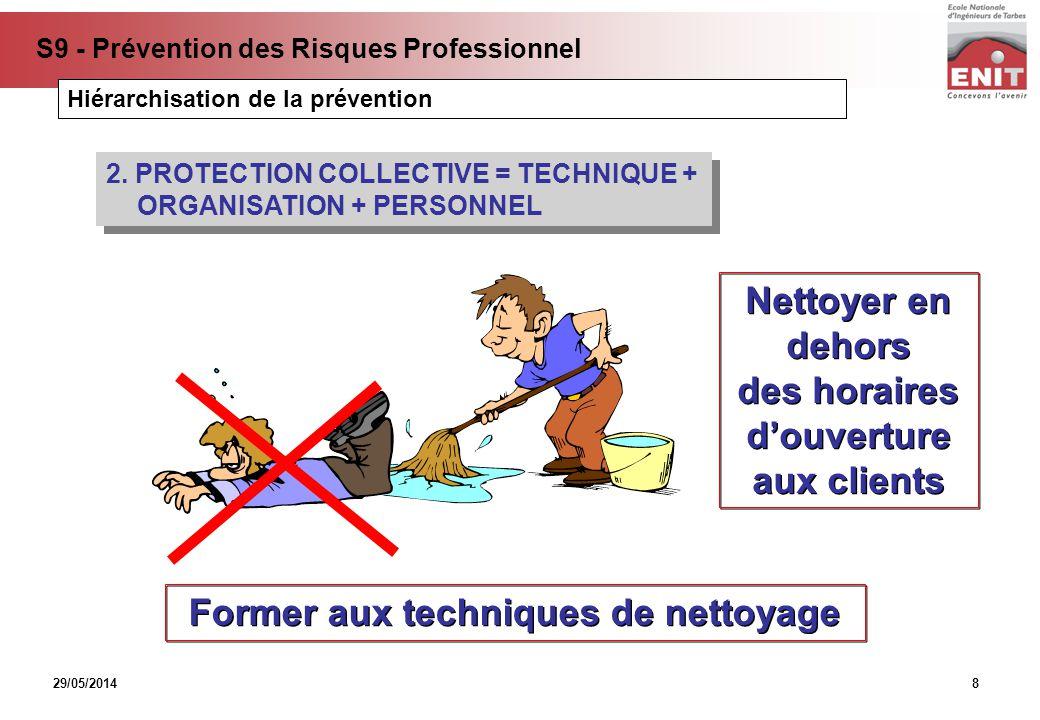 29/05/2014 S9 - Prévention des Risques Professionnel 8 2. PROTECTION COLLECTIVE = TECHNIQUE + ORGANISATION + PERSONNEL Nettoyer en dehors des horaires