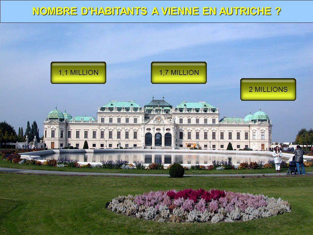 NOMBRE D HABITANTS A VIENNE EN AUTRICHE ? 1,1 MILLION1,7 MILLION 2 MILLIONS