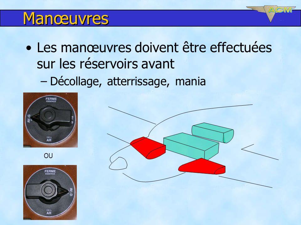 Manœuvres Les manœuvres doivent être effectuées sur les réservoirs avant –Décollage, atterrissage, mania OU
