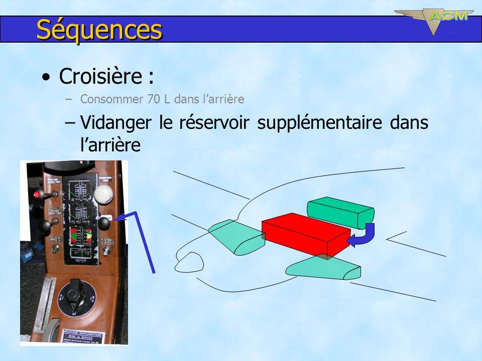 Séquences Croisière : –Consommer 70 L dans larrière –Vidanger le réservoir supplémentaire dans larrière