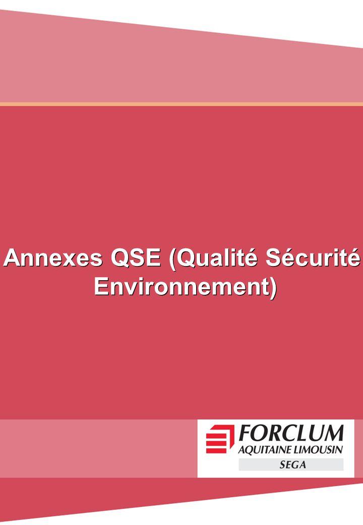 Annexes QSE (Qualité Sécurité Environnement) Annexes QSE (Qualité Sécurité Environnement)
