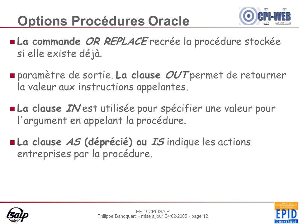 EPID-CPI-ISAIP Philippe Bancquart - mise à jour 24/02/2005 - page 12 Options Procédures Oracle La commande OR REPLACE recrée la procédure stockée si elle existe déjà.