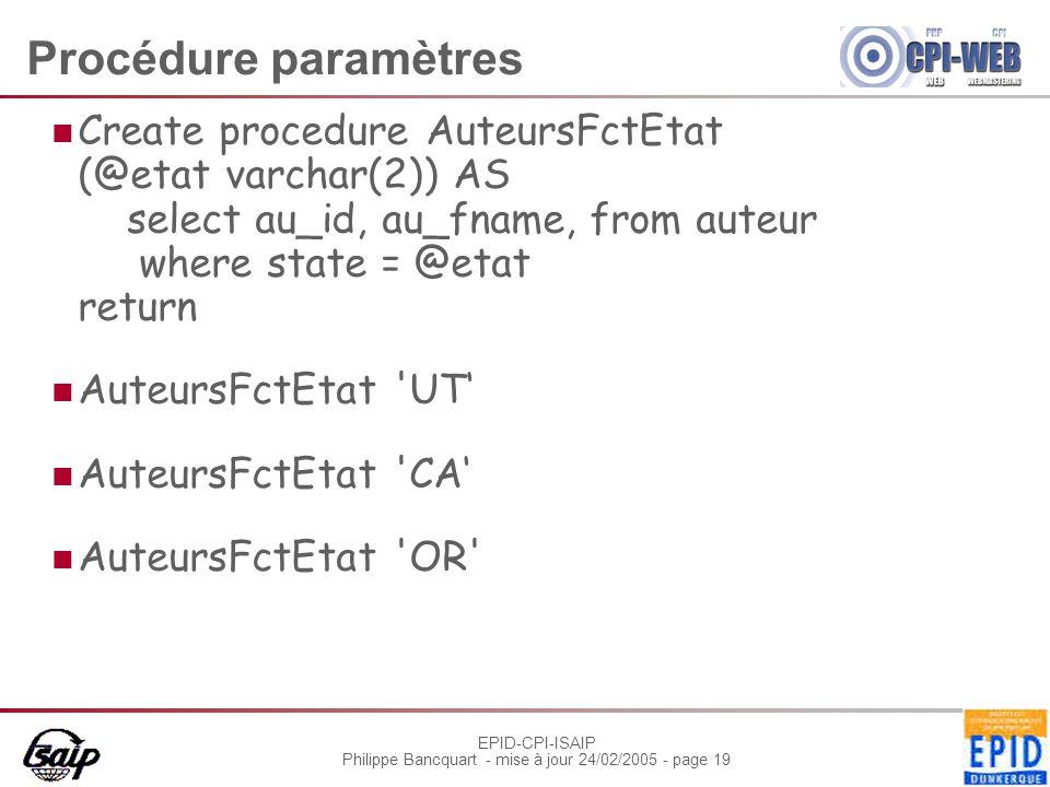 EPID-CPI-ISAIP Philippe Bancquart - mise à jour 24/02/2005 - page 19 Procédure paramètres Create procedure AuteursFctEtat (@etat varchar(2)) AS select au_id, au_fname, from auteur where state = @etat return AuteursFctEtat UT AuteursFctEtat CA AuteursFctEtat OR