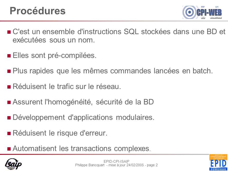 EPID-CPI-ISAIP Philippe Bancquart - mise à jour 24/02/2005 - page 2 Procédures C est un ensemble d instructions SQL stockées dans une BD et exécutées sous un nom.