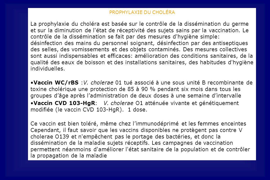 PROPHYLAXIE DU CHOLÉRA La prophylaxie du choléra est basée sur le contrôle de la dissémination du germe et sur la diminution de l état de réceptivité des sujets sains par la vaccination.