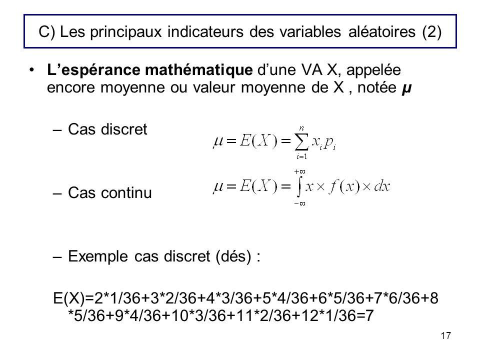 17 C) Les principaux indicateurs des variables aléatoires (2) Lespérance mathématique dune VA X, appelée encore moyenne ou valeur moyenne de X, notée