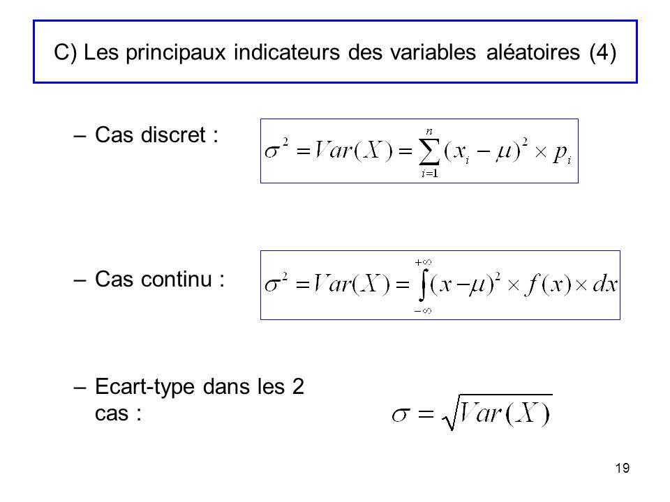 19 C) Les principaux indicateurs des variables aléatoires (4) –Cas discret : –Cas continu : –Ecart-type dans les 2 cas :