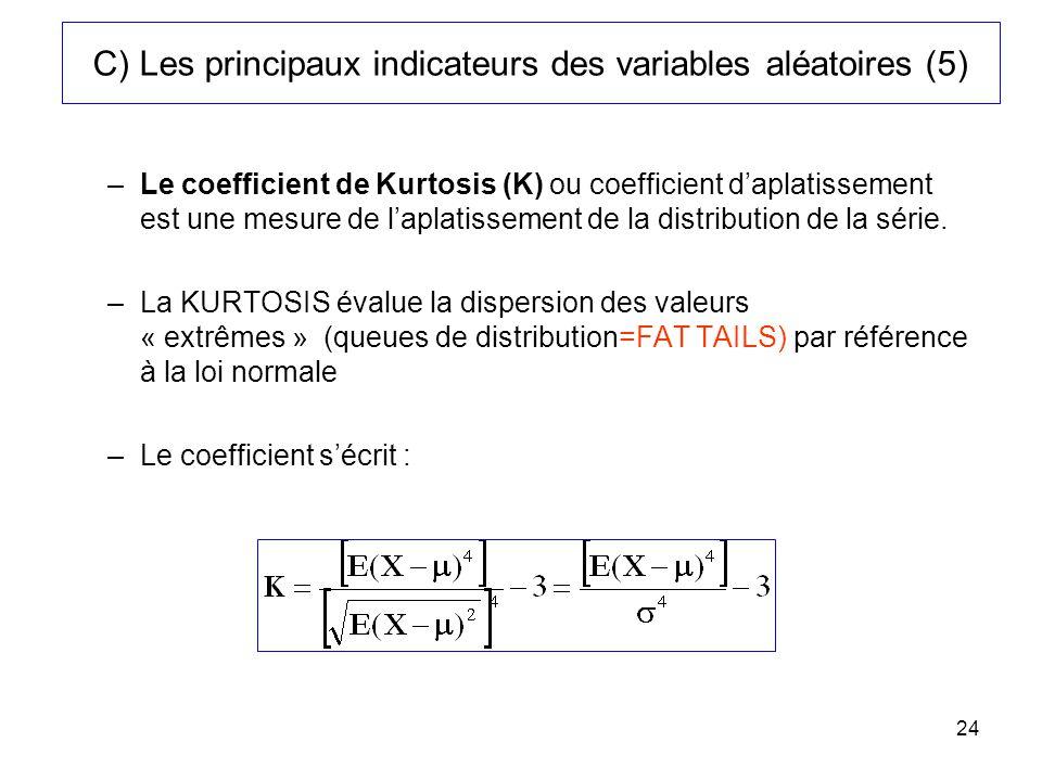 24 C) Les principaux indicateurs des variables aléatoires (5) –Le coefficient de Kurtosis (K) ou coefficient daplatissement est une mesure de laplatis