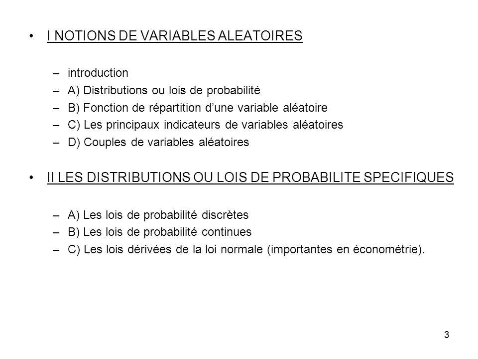 3 I NOTIONS DE VARIABLES ALEATOIRES –introduction –A) Distributions ou lois de probabilité –B) Fonction de répartition dune variable aléatoire –C) Les