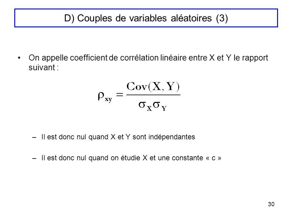 30 D) Couples de variables aléatoires (3) On appelle coefficient de corrélation linéaire entre X et Y le rapport suivant : –Il est donc nul quand X et