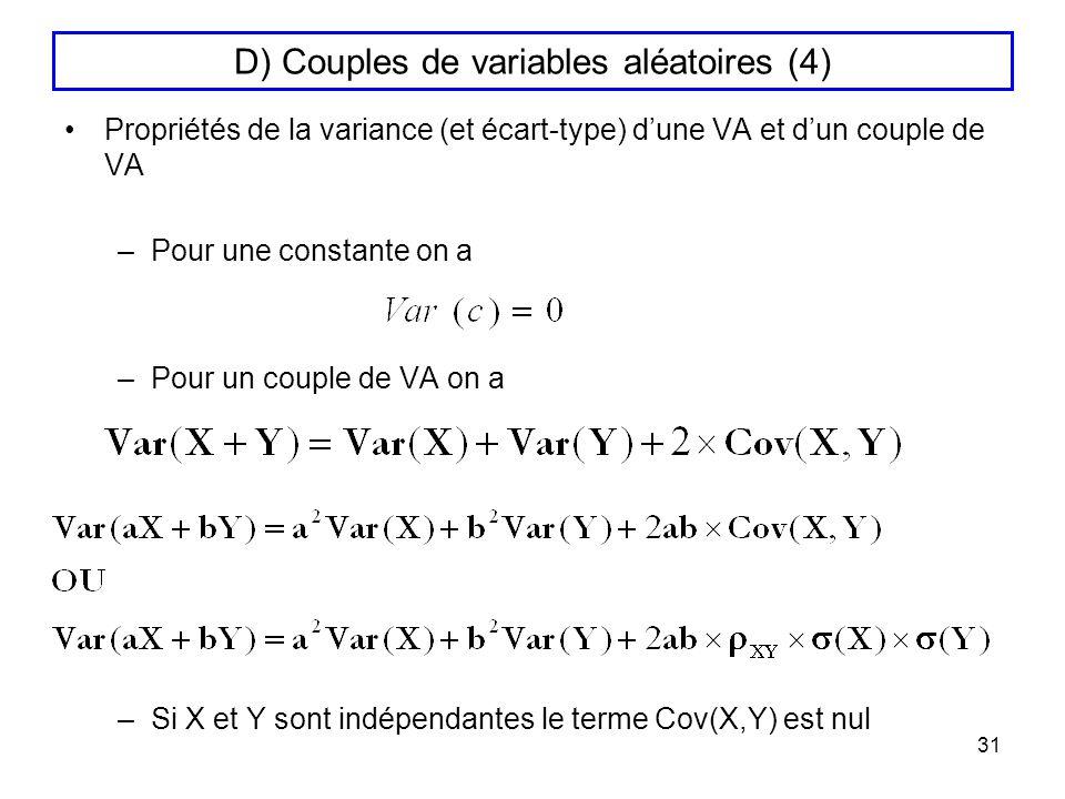 31 D) Couples de variables aléatoires (4) Propriétés de la variance (et écart-type) dune VA et dun couple de VA –Pour une constante on a –Pour un coup