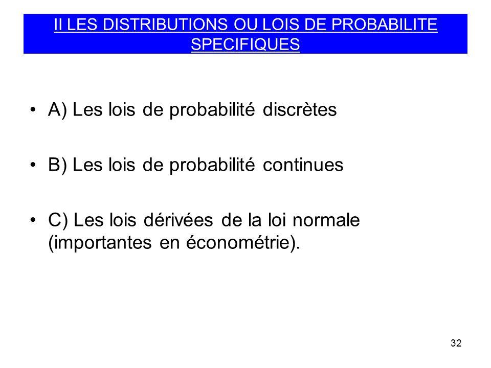 32 II LES DISTRIBUTIONS OU LOIS DE PROBABILITE SPECIFIQUES A) Les lois de probabilité discrètes B) Les lois de probabilité continues C) Les lois dériv