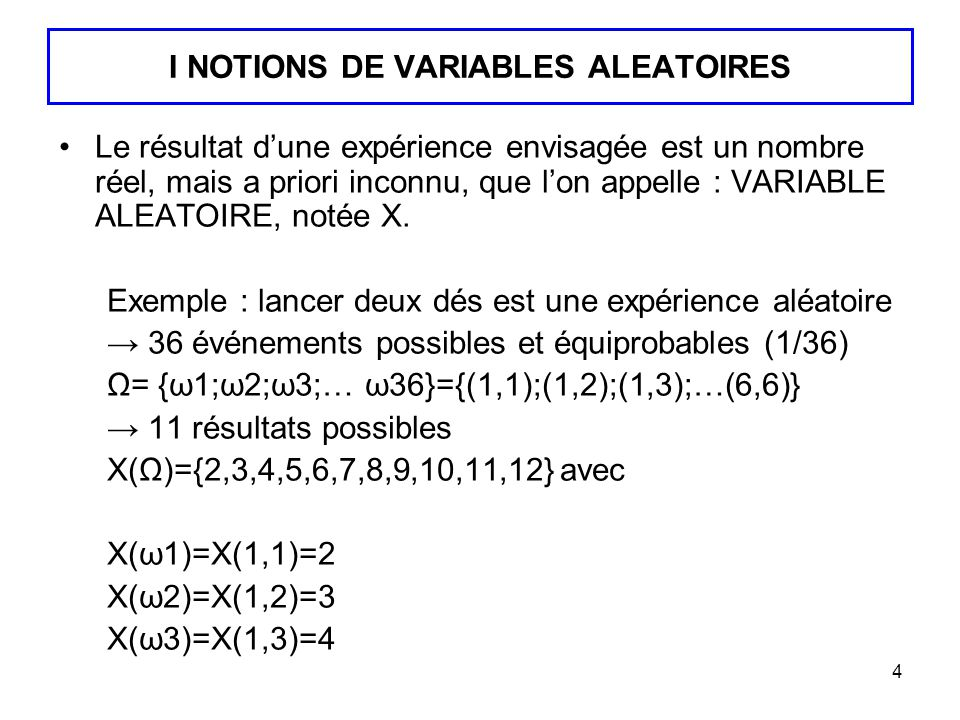 4 I NOTIONS DE VARIABLES ALEATOIRES Le résultat dune expérience envisagée est un nombre réel, mais a priori inconnu, que lon appelle : VARIABLE ALEATO