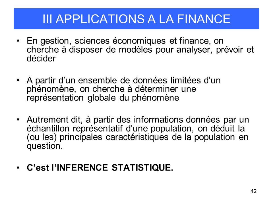 42 III APPLICATIONS A LA FINANCE En gestion, sciences économiques et finance, on cherche à disposer de modèles pour analyser, prévoir et décider A par