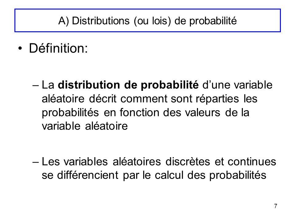 8 A) Distributions de probabilité (suite 1) Cas discret –La distribution de probabilité est définie par une fonction de probabilité notée f(x) –Donne la probabilité de chaque valeur que peut prendre la variable aléatoire –f(x)=proba(X=x) on la note p i avec –Exemple : Valeur de X 23456789101112 Proba(X=x)1/362/363/364/365/366/365/364/363/362/361/36