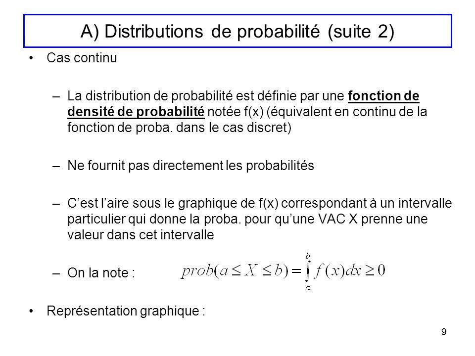 9 A) Distributions de probabilité (suite 2) Cas continu –La distribution de probabilité est définie par une fonction de densité de probabilité notée f