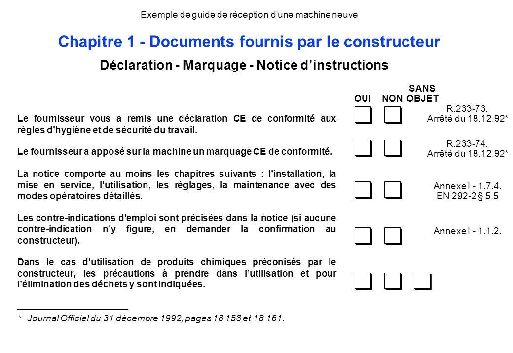 Exemple de guide de réception d'une machine neuve Chapitre 1 - Documents fournis par le constructeur Le fournisseur vous a remis une déclaration CE de