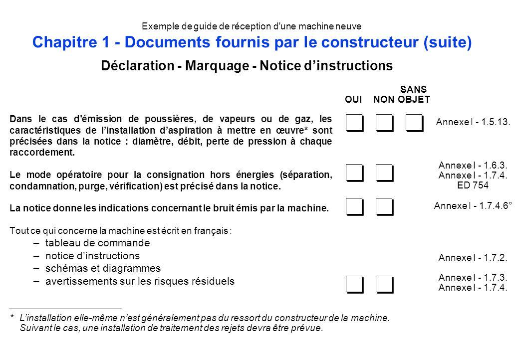 Exemple de guide de réception d'une machine neuve Chapitre 1 - Documents fournis par le constructeur (suite) Dans le cas démission de poussières, de v