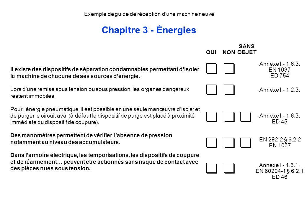Exemple de guide de réception d'une machine neuve Chapitre 3 - Énergies Il existe des dispositifs de séparation condamnables permettant disoler la mac