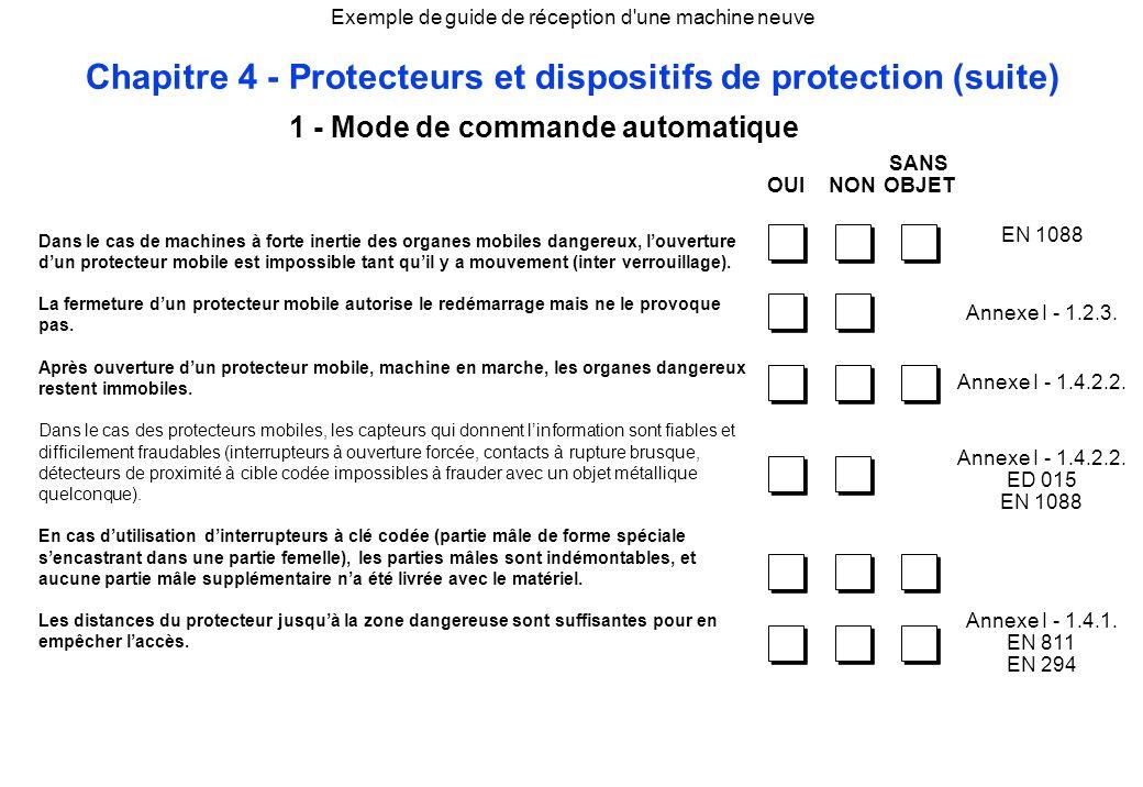 Exemple de guide de réception d'une machine neuve Chapitre 4 - Protecteurs et dispositifs de protection (suite) Dans le cas de machines à forte inerti