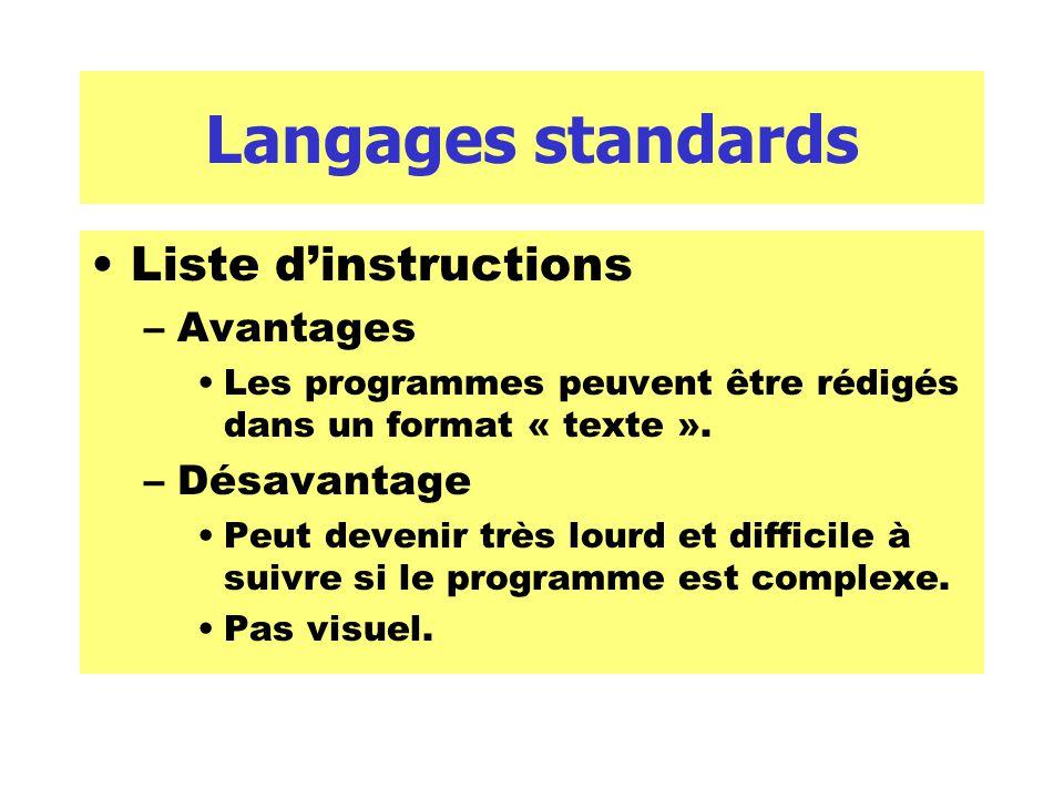 Langages standards Liste dinstructions –Avantages Les programmes peuvent être rédigés dans un format « texte ». –Désavantage Peut devenir très lourd e