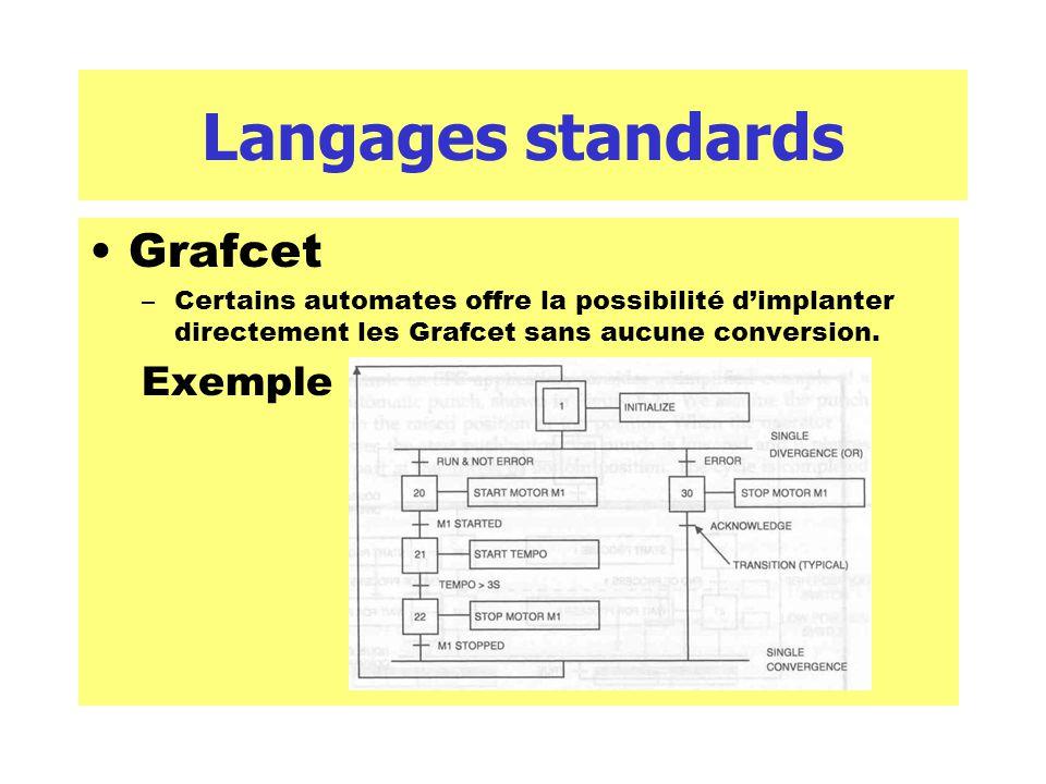 Langages standards Grafcet –Certains automates offre la possibilité dimplanter directement les Grafcet sans aucune conversion. Exemple