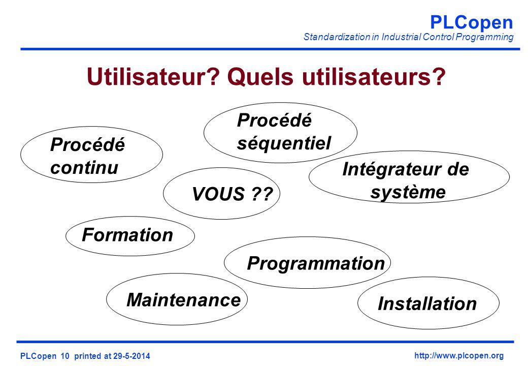PLCopen Standardization in Industrial Control Programming PLCopen 10 printed at 29-5-2014 http://www.plcopen.org Utilisateur.
