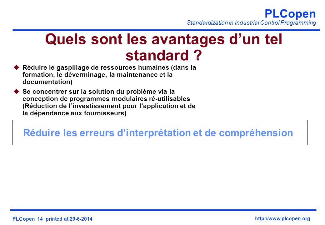PLCopen Standardization in Industrial Control Programming PLCopen 14 printed at 29-5-2014 http://www.plcopen.org uRéduire le gaspillage de ressources