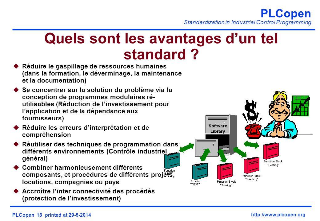 PLCopen Standardization in Industrial Control Programming PLCopen 18 printed at 29-5-2014 http://www.plcopen.org Quels sont les avantages dun tel standard .