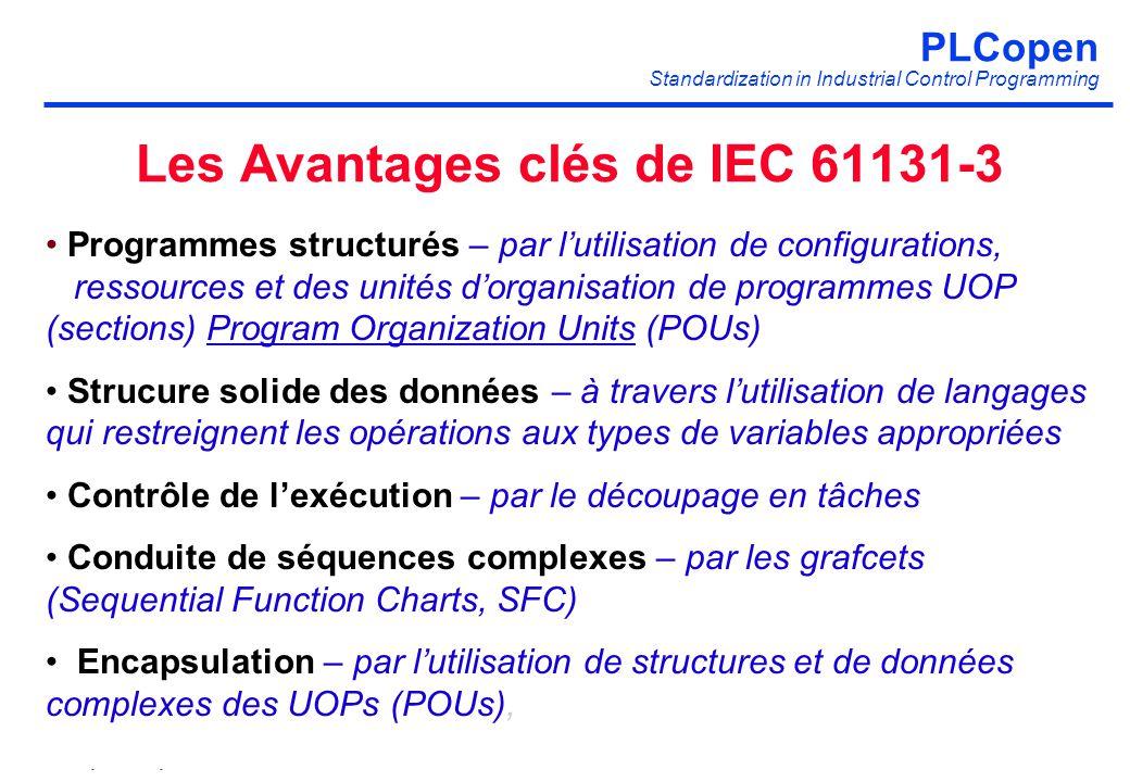 PLCopen Standardization in Industrial Control Programming PLCopen 19 printed at 29-5-2014 http://www.plcopen.org Les Avantages clés de IEC 61131-3 Pro