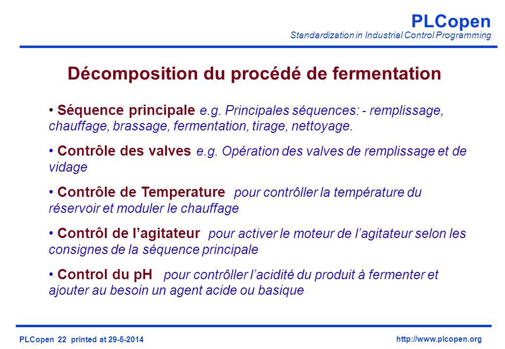 PLCopen Standardization in Industrial Control Programming PLCopen 22 printed at 29-5-2014 http://www.plcopen.org Décomposition du procédé de fermentation Séquence principale e.g.