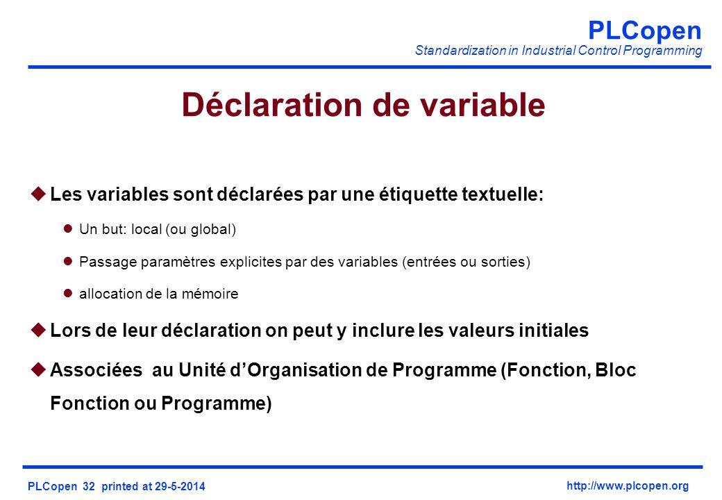 PLCopen Standardization in Industrial Control Programming PLCopen 32 printed at 29-5-2014 http://www.plcopen.org Déclaration de variable uLes variables sont déclarées par une étiquette textuelle: lUn but: local (ou global) lPassage paramètres explicites par des variables (entrées ou sorties) lallocation de la mémoire uLors de leur déclaration on peut y inclure les valeurs initiales uAssociées au Unité dOrganisation de Programme (Fonction, Bloc Fonction ou Programme)
