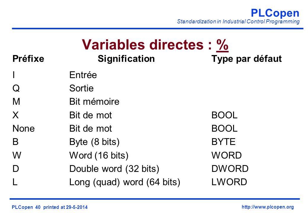PLCopen Standardization in Industrial Control Programming PLCopen 40 printed at 29-5-2014 http://www.plcopen.org Variables directes : % PréfixeSignificationType par défaut IEntrée QSortie MBit mémoire XBit de motBOOL NoneBit de motBOOL BByte (8 bits) BYTE WWord (16 bits) WORD DDouble word (32 bits) DWORD LLong (quad) word (64 bits) LWORD
