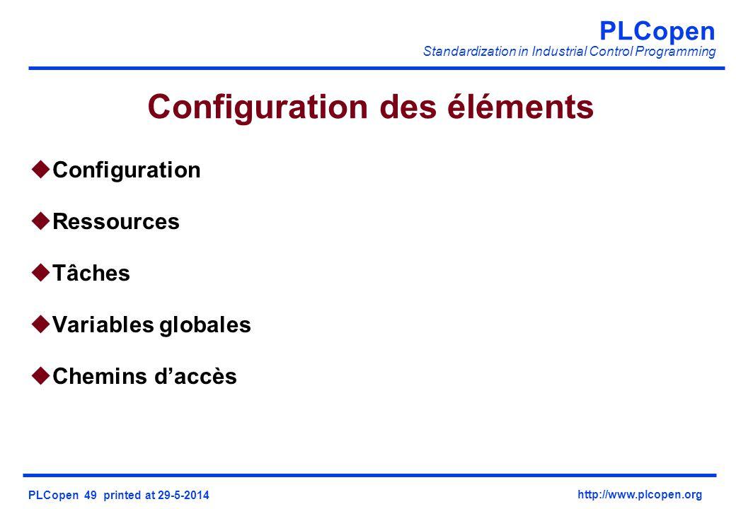 PLCopen Standardization in Industrial Control Programming PLCopen 49 printed at 29-5-2014 http://www.plcopen.org Configuration des éléments uConfiguration uRessources uTâches uVariables globales uChemins daccès