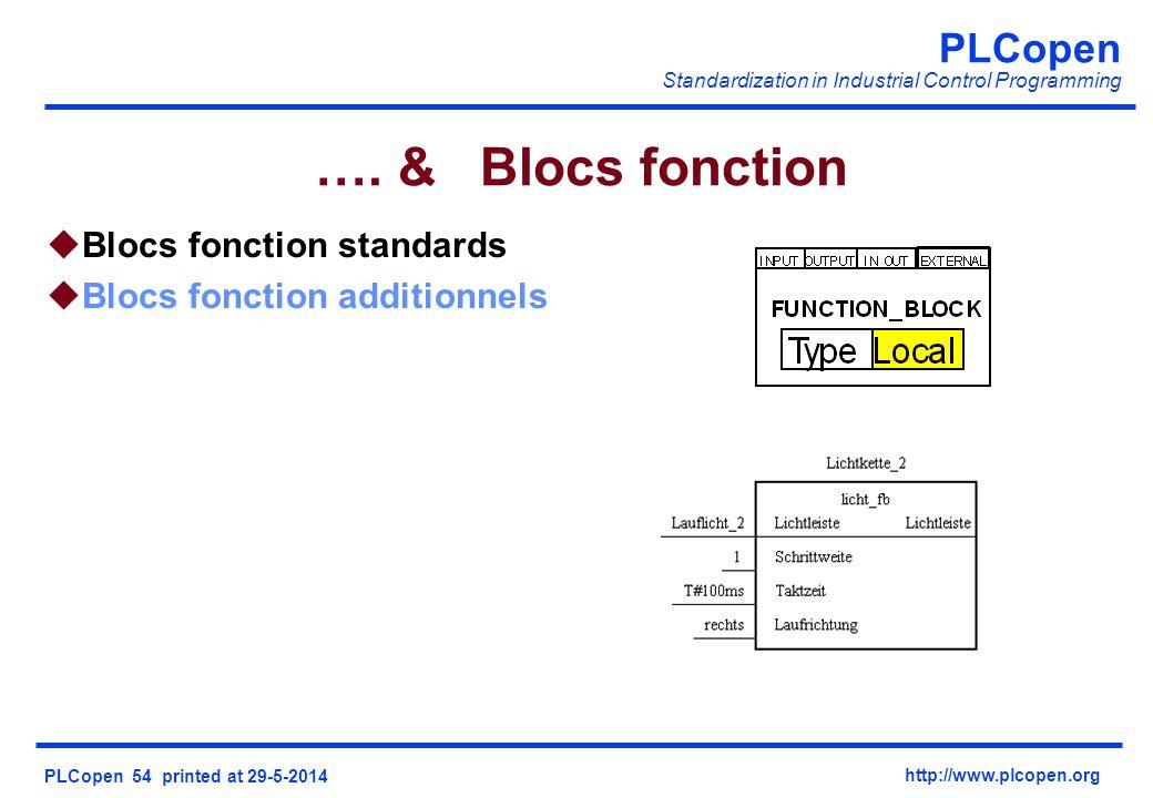 PLCopen Standardization in Industrial Control Programming PLCopen 54 printed at 29-5-2014 http://www.plcopen.org …. & Blocs fonction uBlocs fonction s